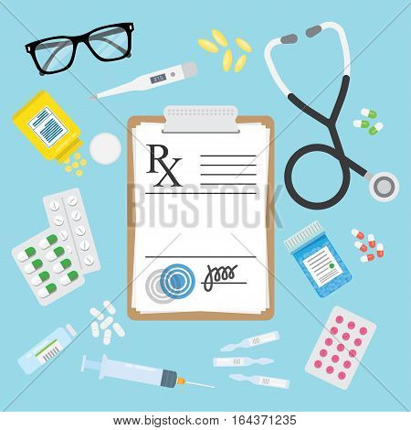 Empty medical prescription Rx form and Stethoscope medicines pills tablets ampulla bottles troches isolated. Healthcare. Vector illustration Flat style