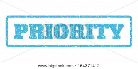 Light Blue rubber seal stamp with Priority text. Vector tag inside rounded rectangular shape. Grunge design and dirty texture for watermark labels. Horisontal sign on a white background.