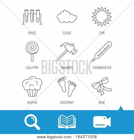 Footprint, lab bulbs and thermometer icons. Muffin, bow and lolly pop linear signs. Cloud and sun flat line icons. Video cam, book and magnifier search icons. Vector