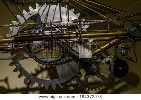 Close up of cogwheels. Large cog wheels in technical system.