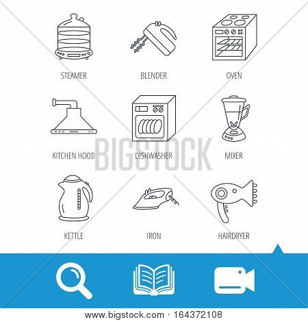 Dishwasher, kettle and mixer icons. Oven, steamer and iron linear signs. Hair dryer, blender and kitchen hood icons. Video cam, book and magnifier search icons. Vector