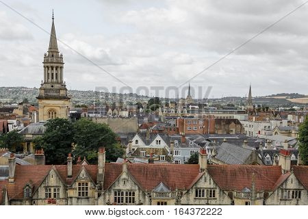 Horizontal panorama with Oxford England. Oxford is known as the home of the University of Oxford.