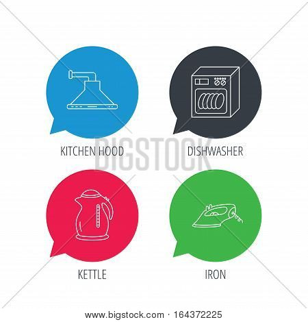 Colored speech bubbles. Dishwasher, kettle and kitchen hood icons. Iron linear sign. Flat web buttons with linear icons. Vector