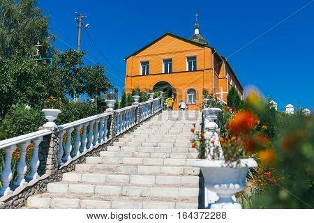 St. Nicholas Monastery in Bohuslav. Long stone staircase to the church 22.09.2016 Ukraine