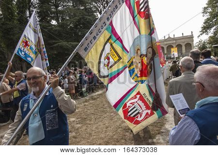 Pontchateau France - September 11 2016: The celebration of 300 anniversary of the death of St. Louis Montfort Monfort Jubilee Year. The photo unidentified participants of the ceremony.