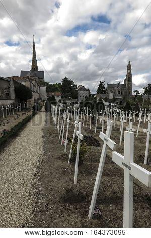 The Basilica of St. Louis de Montfort cemetery at Saint-Laurent-sur-Sevre in the Vendée department in the Pays de la Loire region in France