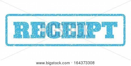 Light Blue rubber seal stamp with Receipt text. Vector caption inside rounded rectangular banner. Grunge design and dust texture for watermark labels. Horisontal emblem on a white background.