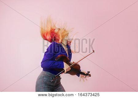 young beautiful woman with violin smile nice