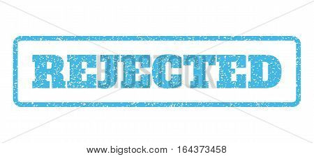 Light Blue rubber seal stamp with Rejected text. Vector caption inside rounded rectangular frame. Grunge design and unclean texture for watermark labels. Horisontal emblem on a white background.