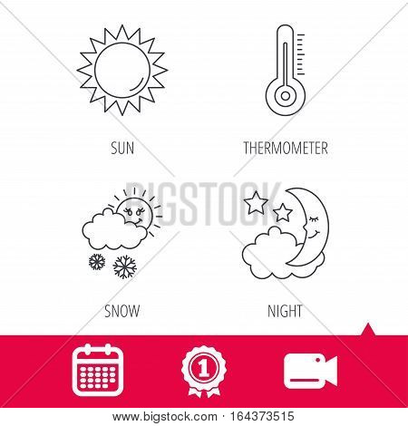Achievement and video cam signs. Thermometer, sun and snow icons. Moon night linear sign. Calendar icon. Vector