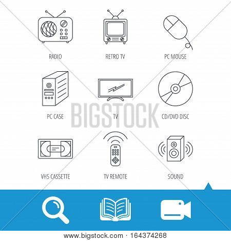 Retro TV, radio and DVD disc icons. PC mouse, VHS cassette and sound speaker linear signs. Video cam, book and magnifier search icons. Vector