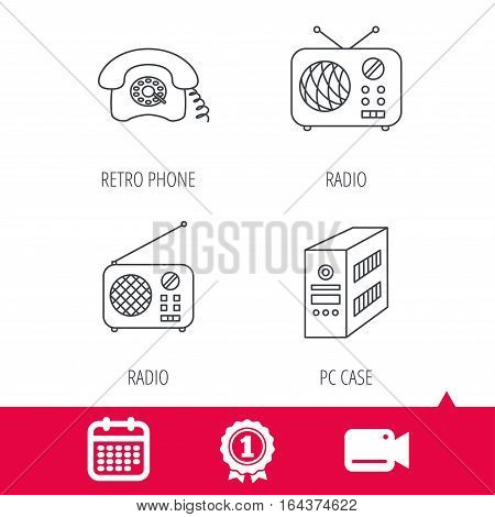 Achievement and video cam signs. Radio, retro phone and pc case icons. Vintage radio linear sign. Calendar icon. Vector