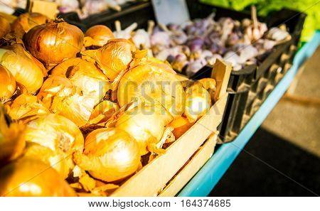 Pile of fresh onions at a market split croatia