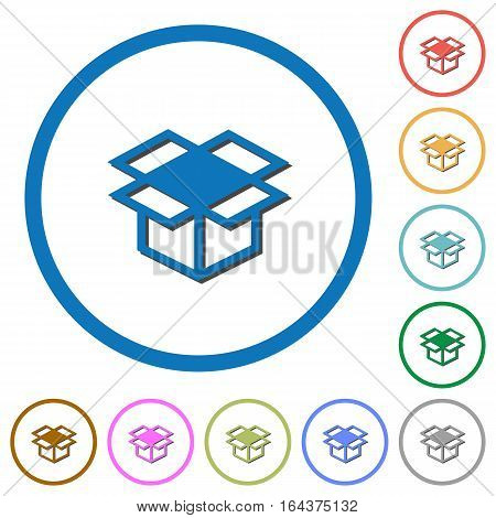Open box flat color vector icons with shadows in round outlines on white background