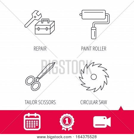 Achievement and video cam signs. Scissors, paint roller and repair tools icons. Circular saw linear sign. Calendar icon. Vector