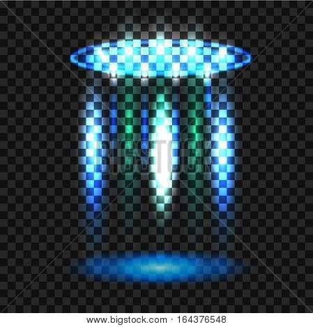 Ufo Light Beam, Aliens Futuristic Spacecraft Isolated On Transparent Checkered Background. Saucer Tr