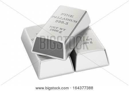 Palladium ingots 3D rendering isolated on white background