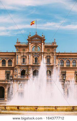 Plaza de Espana in Seville, Andalusia, Spain. Renaissance Revival style. Spain Square.