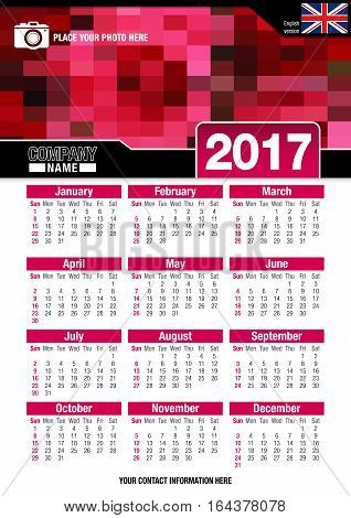 Useful wall calendar 2017 with design of red colors mosaic. Format A4 vertical. Size: 210mm x 297mm. English version