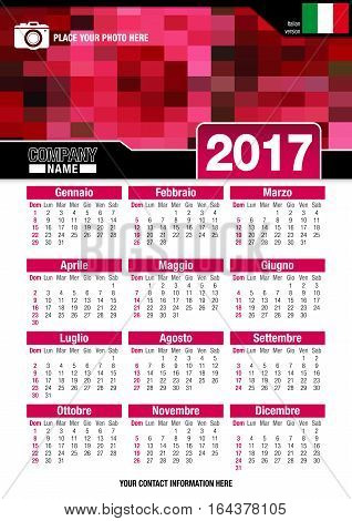 Useful wall calendar 2017 with design of red colors mosaic. Format A4 vertical. Size: 210mm x 297mm. Italian version