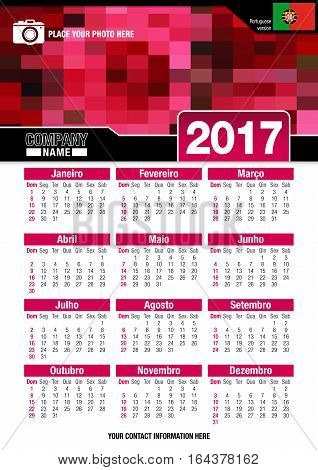 Useful wall calendar 2017 with design of red colors mosaic. Format A4 vertical. Size: 210mm x 297mm. Portuguese version