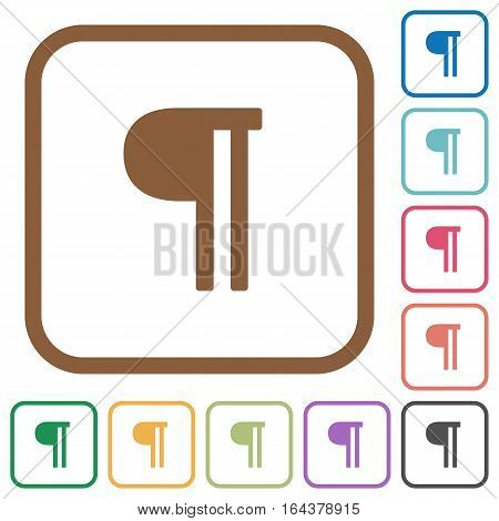 Text paragraph simple icons in color rounded square frames on white background