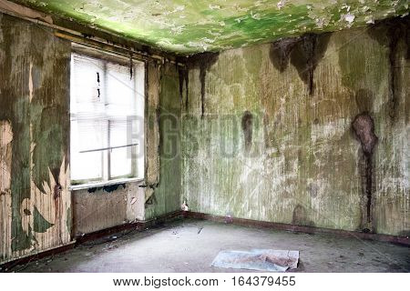 old deserted room with window, grunge and dirtiness wall