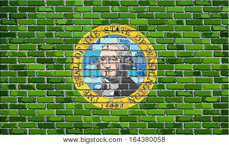 Flag of Washington on a brick wall with effect - 3D Illustration,  The flag of the state of Washington on brick textured background,  Washington Flag in brick style