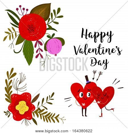 Happy Valentines day card with hearts and flowers- stock vector