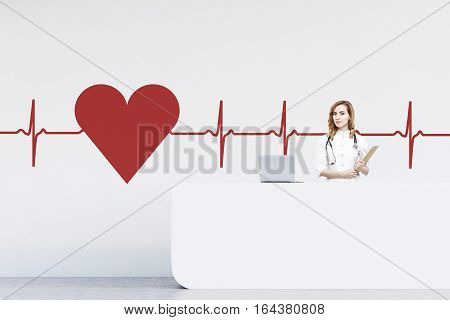 Woman Receptionist In A Hospital, Heart Sketch