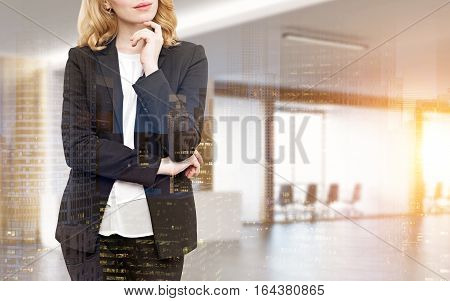 Close up of a red haired woman standing in an office lobby with a conference room in the background. Mock up. Toned image. Double exposure