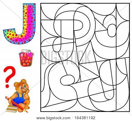 Educational page with letter J for study English. Logic puzzle. Find and paint 5 letters J. Vector image.