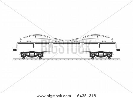 Flatcar with two automobiles. Isolated on white. Vector illustration.
