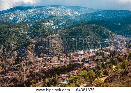 Village of Pedoulas at snowy Troodos mountains. Nicosia District Cyprus.