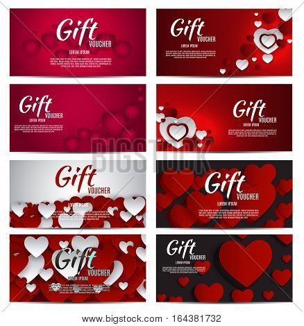 Gift Voucher Template For Your Business. Valentine s Day Heart Card Love and Feelings Background Design. Vector illustration EPS10