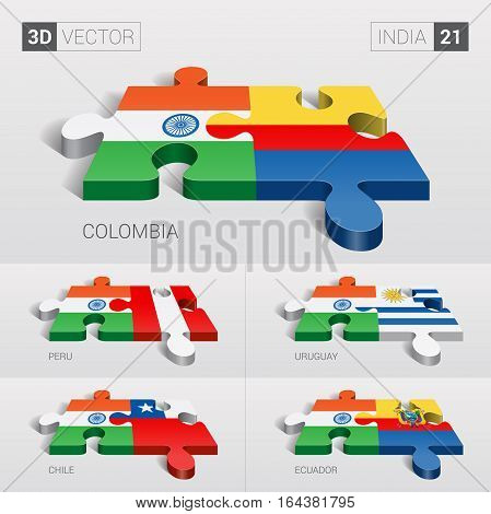 India puzzle part joint with Colombia, Peru, Uruguay, Chile, Ecuador.