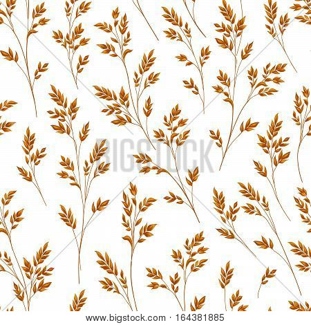 Floral pattern with leaves. Ornamental seamless background. Nature ornamental pattern with ear wearl