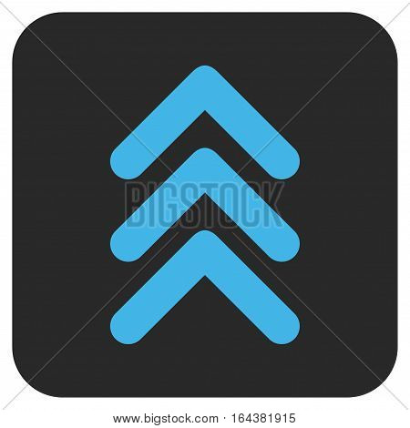 Triple Arrowhead Up glyph icon. Image style is a flat icon symbol in a rounded square button blue and gray colors.