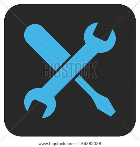 Tuning glyph icon. Image style is a flat icon symbol inside a rounded square button blue and gray colors.