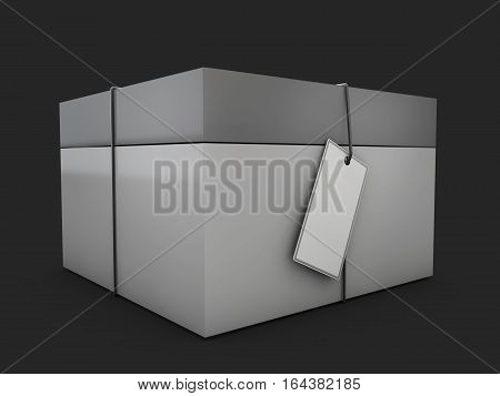 Product Cardboard Package Box With Lable. 3D Illustration Isolated On Black Background.