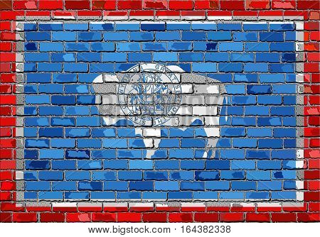 Flag of Wyoming on a brick wall with effect - 3D Illustration,  The flag of the state of Wyoming on brick textured background,  Wyoming Flag in brick style