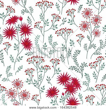 Floral pattern with leaves and flowers. Ornamental herb branch seamless background. Nature plant spring ornament