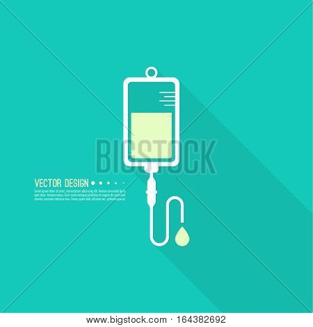 Vector iv bag icon. Saline symbol on background.  The concept of treatment and therapy, chemotherapy. Modern  design flat design with long shadow