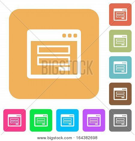 Login window flat icons on rounded square vivid color backgrounds.