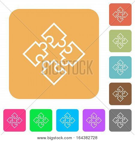 Puzzle pieces flat icons on rounded square vivid color backgrounds.