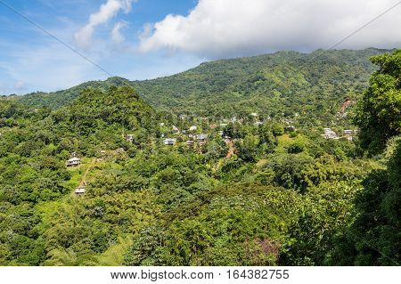 Homes on green hills on the island of Grenada
