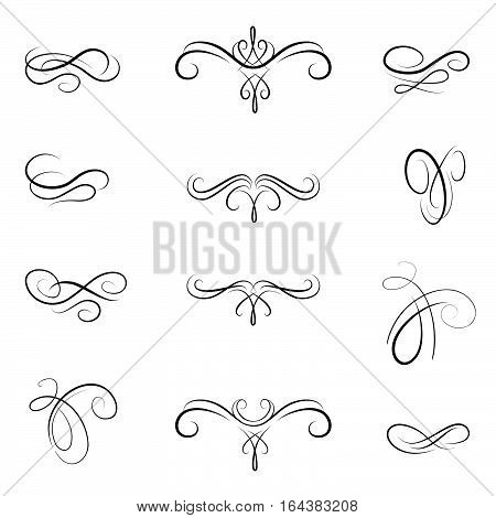Calligraphic flourish design elements. Page decoration doodle vignette set in retro style. Elegant vintage borders and dividers for greeting card retro party wedding invitation.