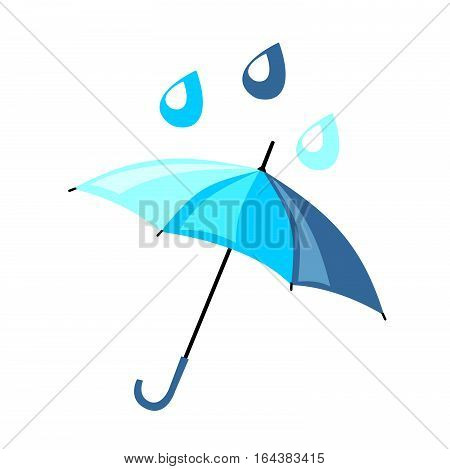 Beautiful blue umbrella in a flat style. On it are falling raindrops. Vector icon about the weather in spring and autumn