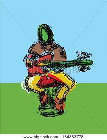 An illustrated and abstract image of a sitting guitar player rendered in bright, festive colors.