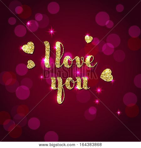 Glitter textured words I Love you in hand-written style. Vector template for Valentine's Day greeting card.